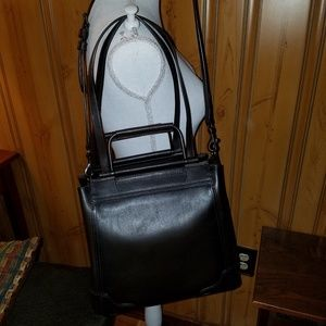 NWT CHARLIE MULTI HANDLE DARK BROWN LEATHER TOTE
